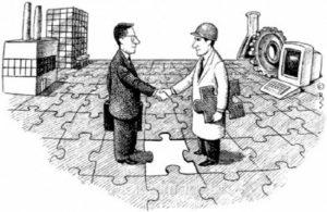 caricatura de empresario y cientifico estrechando la mano